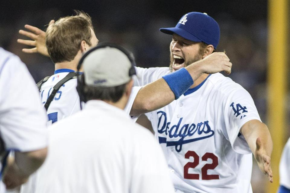 Clayton Kershaw is congratulated after his no-hitter.