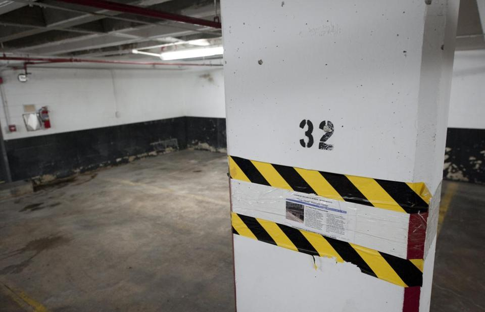 A historical note marks parking spot 32D in a parking garage in a Virginia suburb where Washington Post reporter Bob Woodward met in secret with his source Deep Throat in the early 1970s.