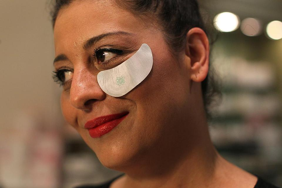 Rosemarie Avola models a Patchology patch designed to smooth wrinkles and improve skin.