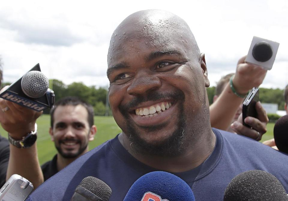 Vince Wilfolk was all smiles after a Patriots workout on Thursday.