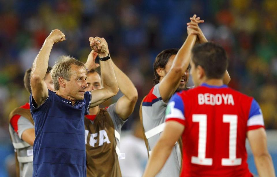 US coach Juergen Klinsmann (left) celebrated the June 16 win against Ghana.