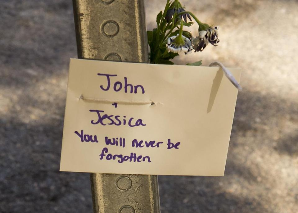 A card and memorial were on Beacon Street Monday where Jessica Campbell and Jack Lanzillotti were walking on Saturday night.