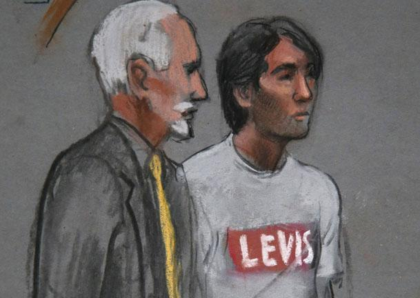 In a file courtroom sketch, Khairullozhon Matanov, right, appeared with attorney Paul Glickman.