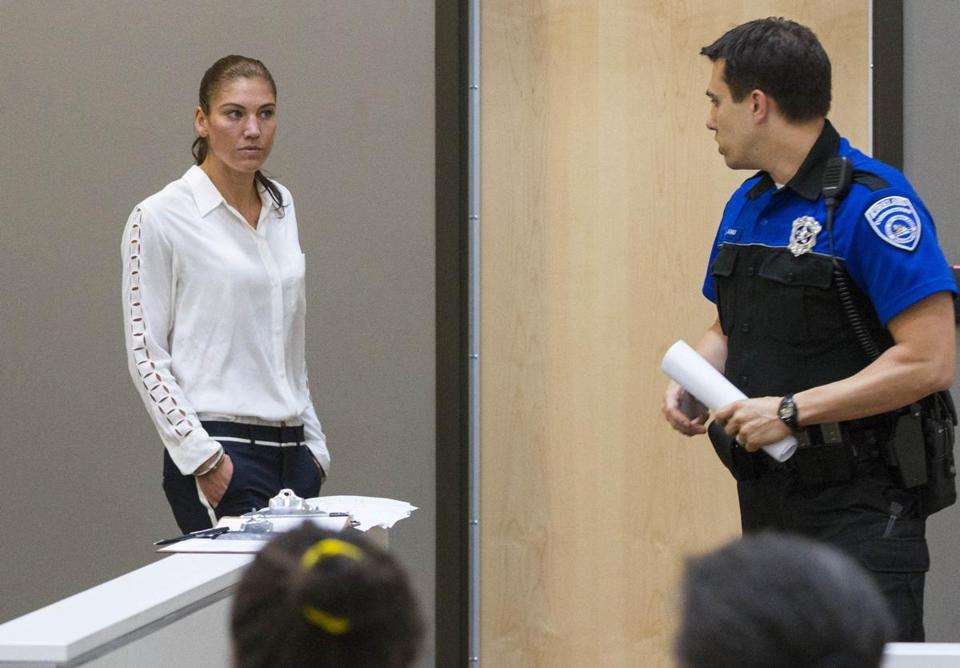 Hope Solo was ordered not to have contact with the alleged victims and to not drink alcohol.