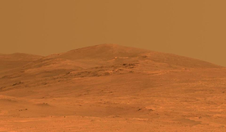 This vista of the Endeavour Crater rim on Mars in a photo taken May 21, 2014.