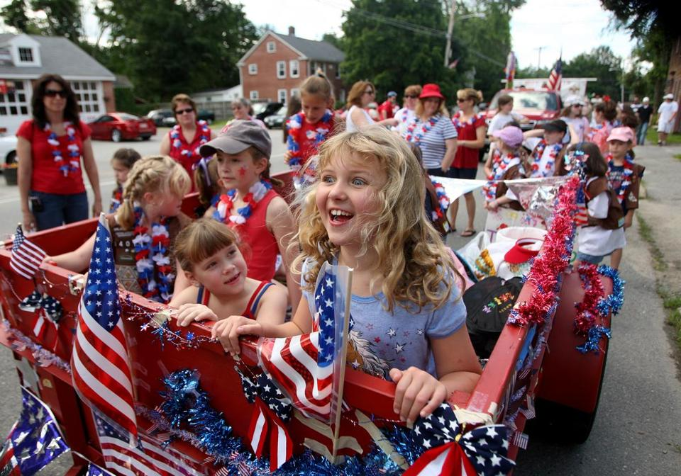 Members of Brownies Troop 34011 were among the participants in Pepperell's Fourth of July parade in 2009.  The annual community procession takes place on Saturday this year.