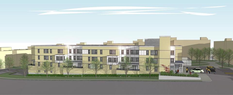 A rendering of 86 Dummer Street, an affordable-housing complex in Brookline slated to open next year.