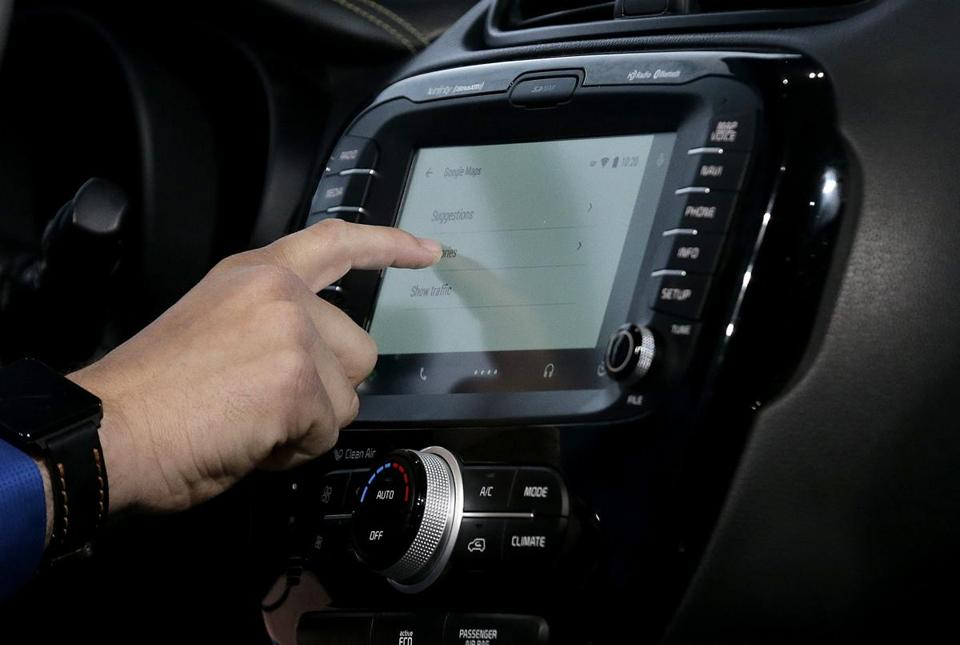 A demonstration of Android Auto is given during the Google I/O event.