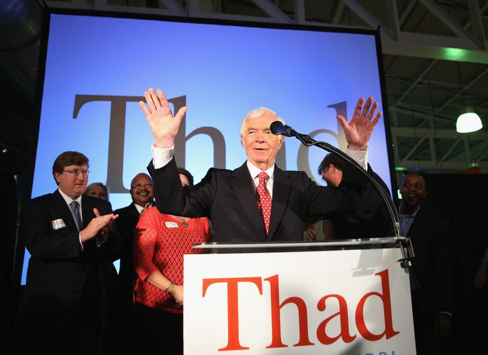 Senator Thad Cochran held off a challenge from Tea Party favorite Chris McDaniel. Cochran took 51 percent of the vote.