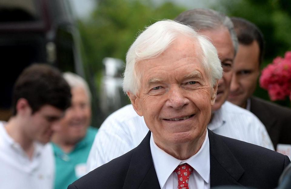 US Senator Thad Cochran and his entourage stopped for lunch at Hamil's Restaurant in Madison, Miss., on election day.
