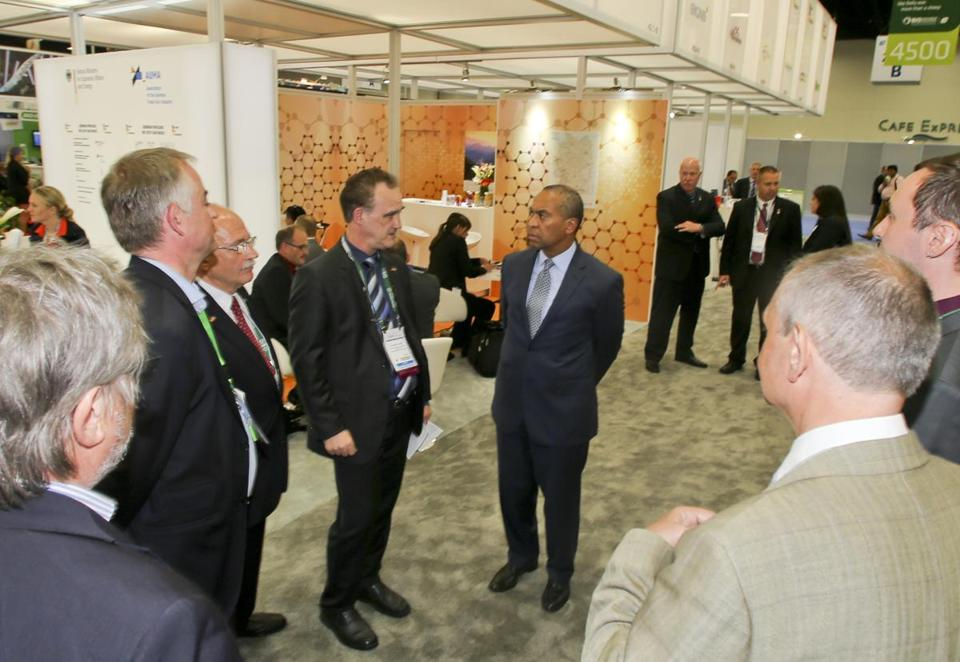 The governor toured Bio Tech International Convention in San Diego, where he urged firms to look at Massachusetts.