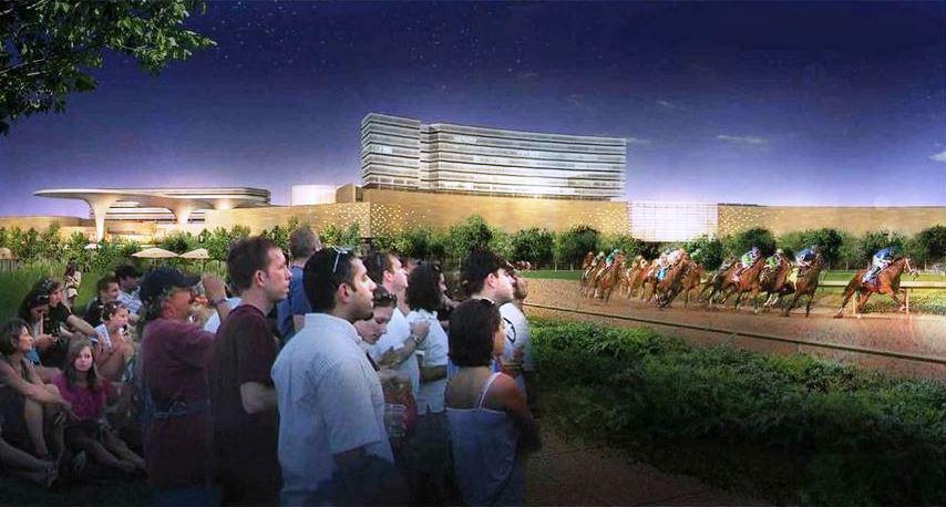 A rendering of how the Mohegan Sun casino complex would appear overlooking the Suffolk Downs racetrack.