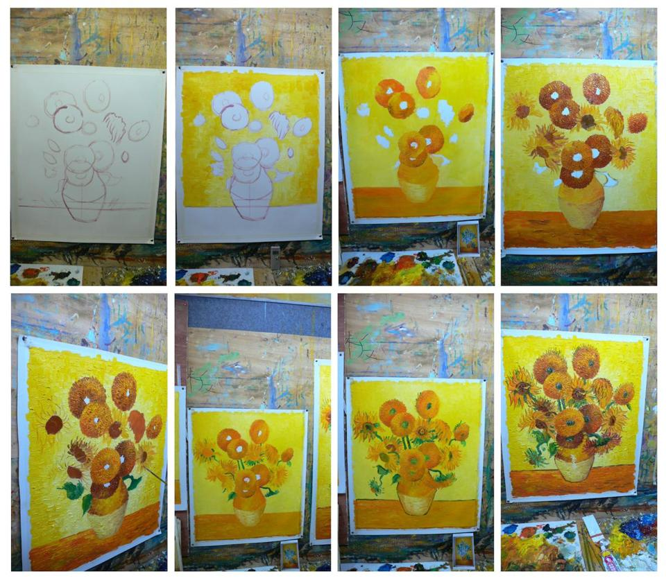"Eight stages for two van Gogh ""Sunflowers,"" as copied by Zhao Xiaoyong and the author."