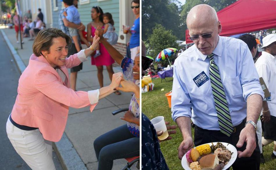 Maura Healey greeted residents at the Bunker Hill Day parade (left) and Warren Tolman admired a plate of food at Franklin Park.
