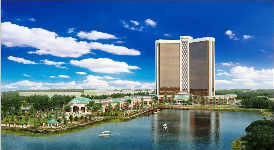 The latest rendering of the Wynn casino proposed in Everett.