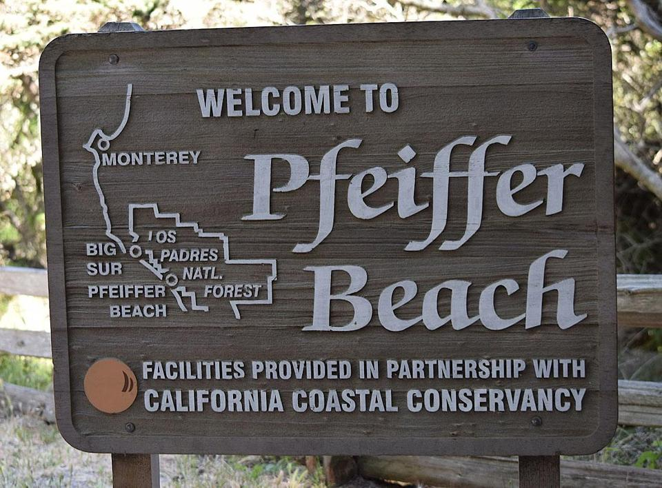 The sign for Pfeiffer Beach in California.