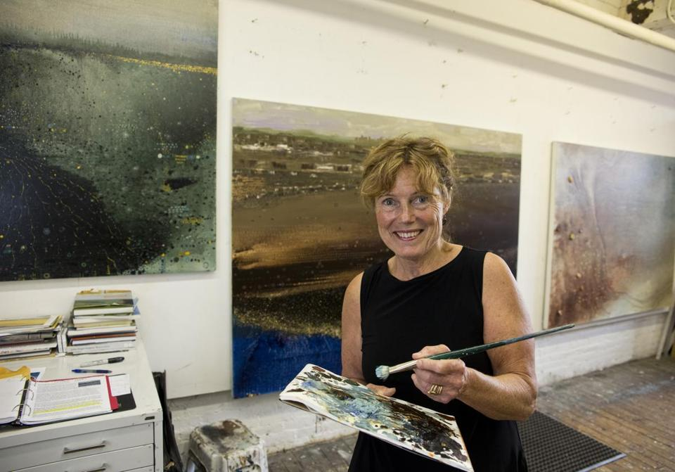 """I don't think of myself as a political person,"" Anne Neely (pictured in her studio) says. ""But the feeling that water . . . was at risk, shifted me to a more purposeful approach to painting."""