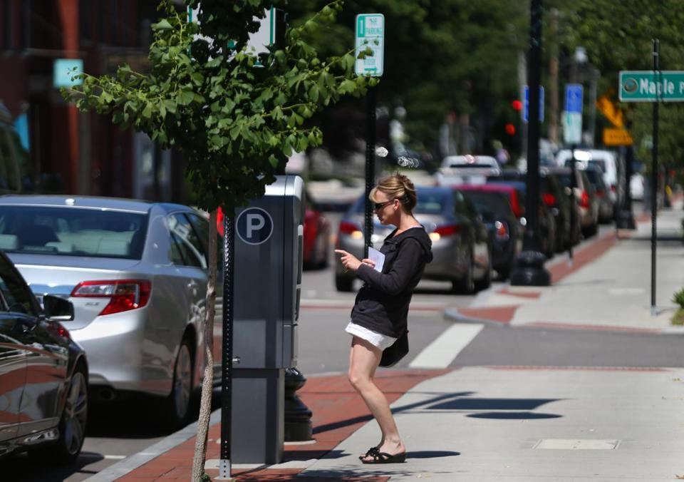 Dedham Square improvements include pay stations that cater to people running quick errands.