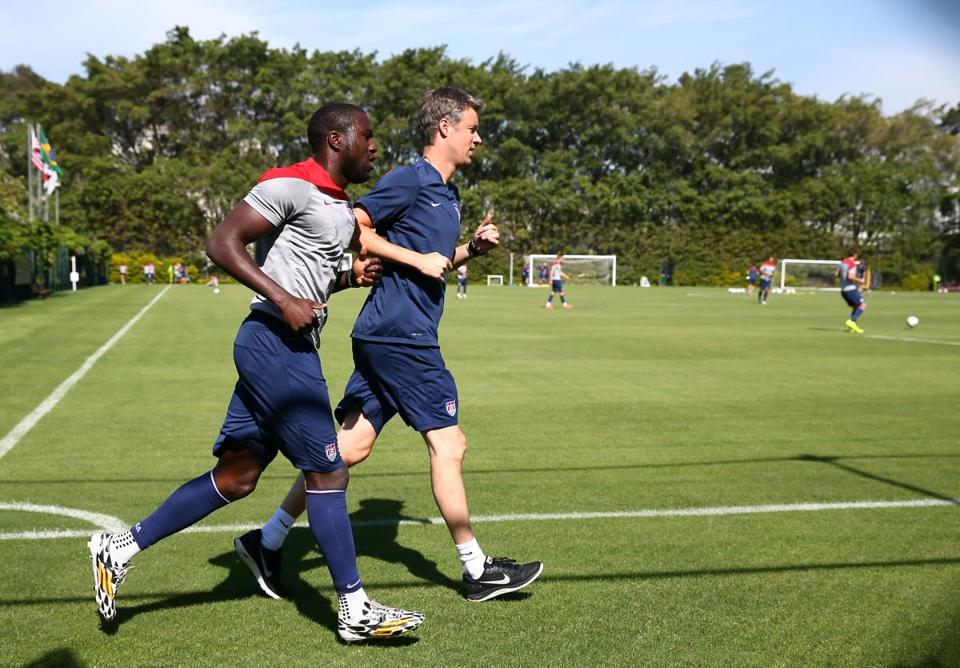 Jozy Altidore jogged around the field during practice Friday.