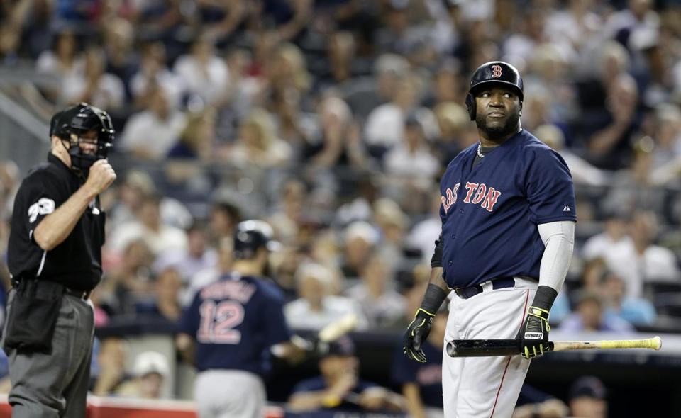David Ortiz reacted after striking out to end the top of the eighth inning.