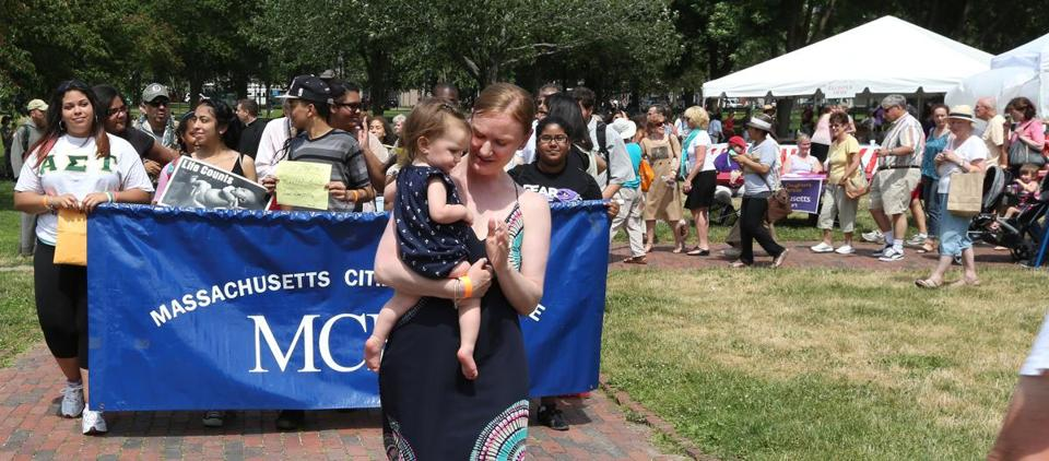 "Courtney Silvani of Shrewsbury led the ""Respect Life Walk"" while carrying her daughter, Ryleigh, at Boston  Common."