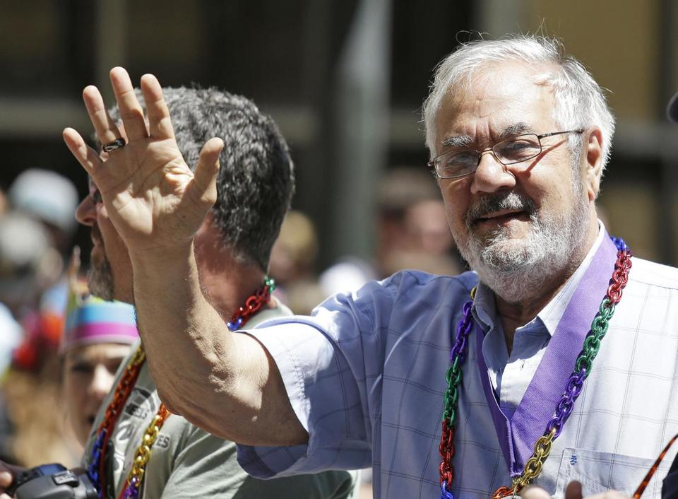 Former Congressman Barney Frank of Massachusetts waved during the San Francisco parade.