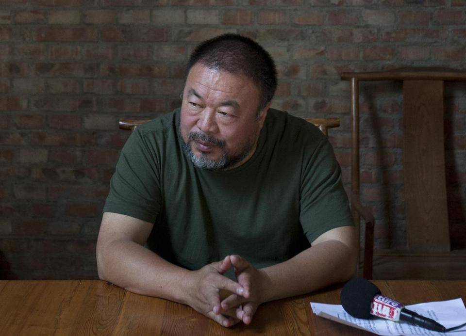 "Ai Weiwei, the artist and subject of a new documentary, ""Ai Weiwei: The Fake Case,"" speaks to journalists at his Beijing studio."