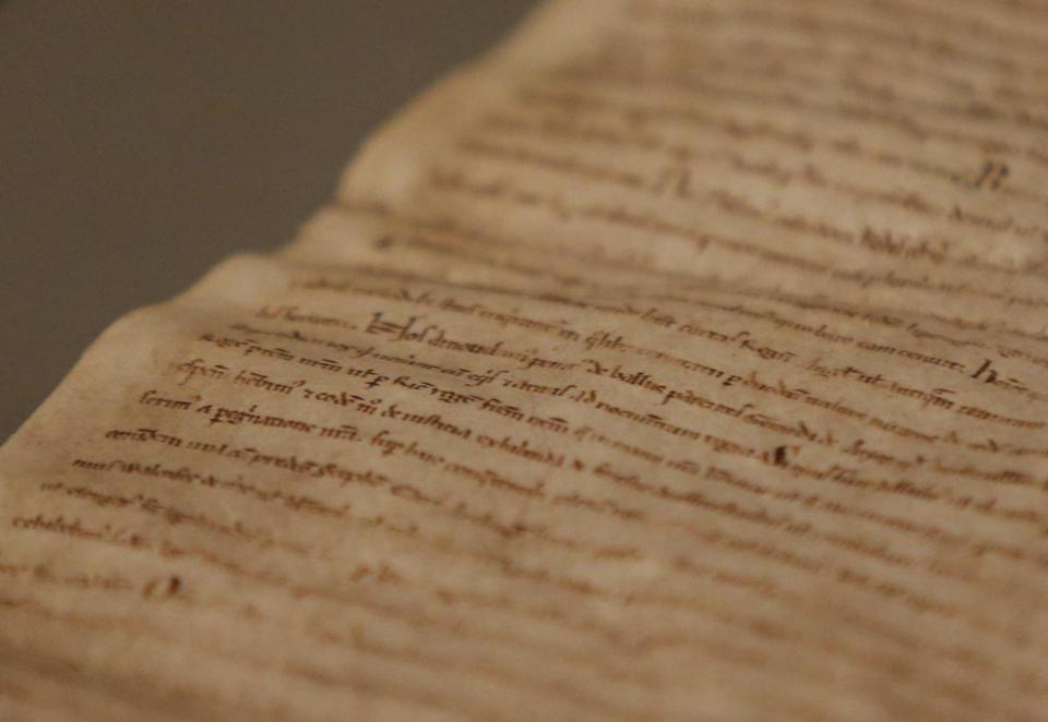 A close-up view of Magna Carta on display at the Museum of Fine Arts.
