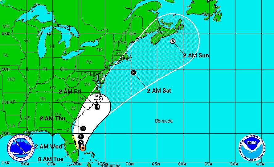 Potential path of the storm as projected at 8 a.m. on Tuesday.