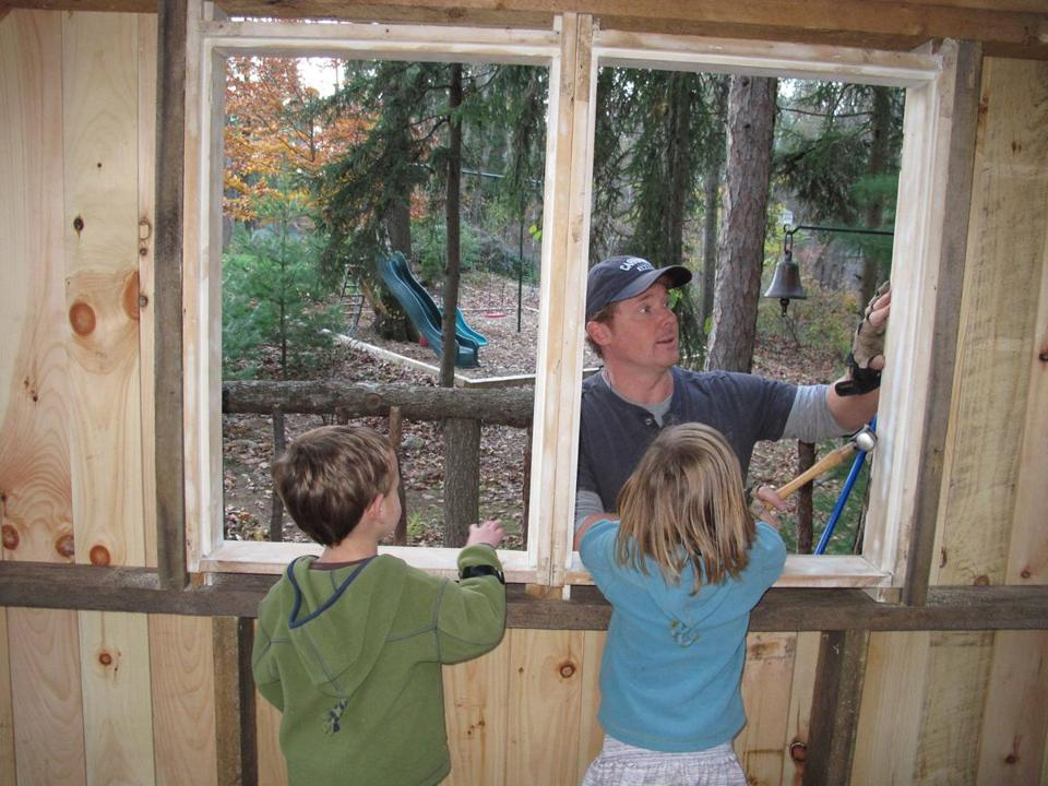 "Kevin O'Connor, host of PBS's ""This Old House,""  is building a treehouse with the help of his three children in the family's backyard in Hamilton."