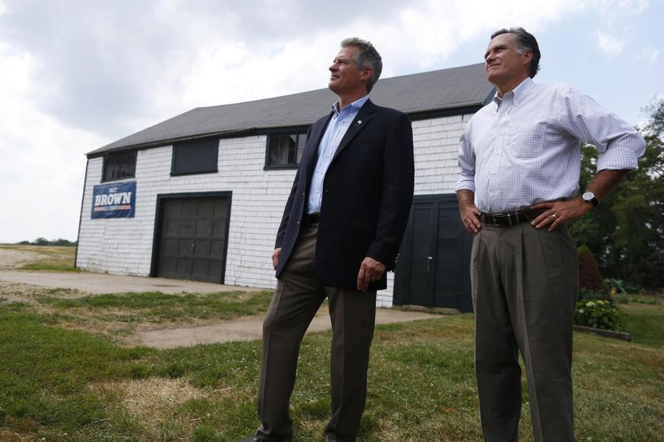Scott Brown and Mitt Romney stood at a New Hampshire farm in July, shortly before Romney endorsed Brown.
