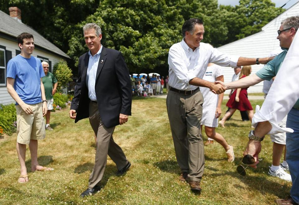 Mitt Romney and Scott Brown arrived at Bittersweet Farm Wednesday.