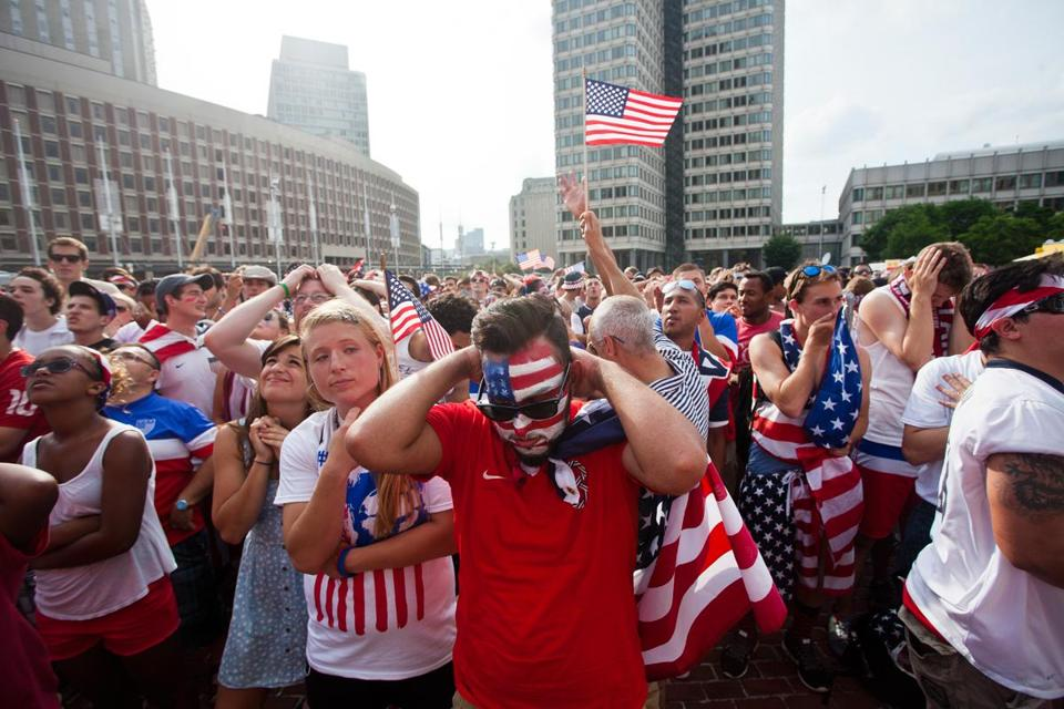Fans watching at City Hall Plaza reacted to Belgium's first goal.