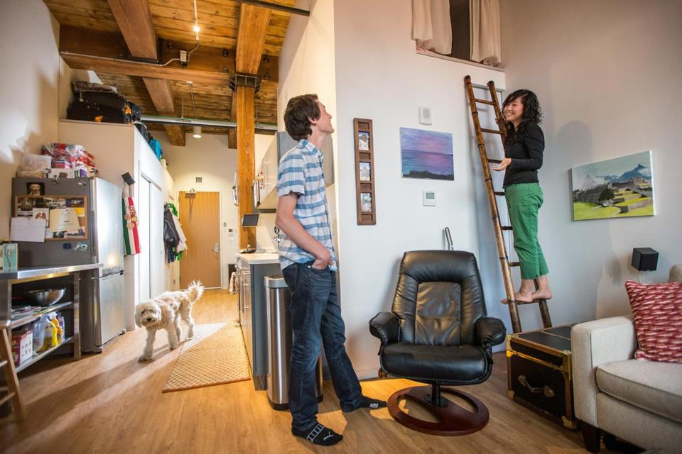 Matthew Knoll shares 451 square feet of living space with his girlfriend, Emily Wu, and their dog, Maui.