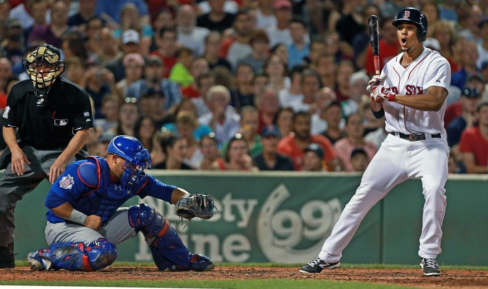 Xander Bogaerts left three runners on base when he struck out in the bottom of the fourth inning of a game on July 2.