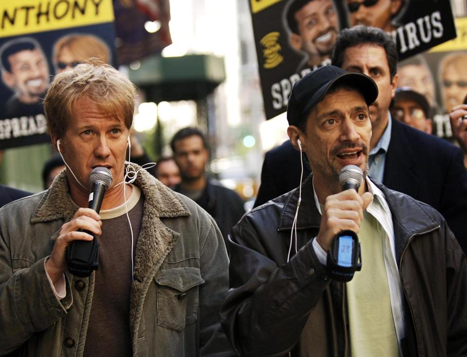"Radio shock jocks Greg ""Opie"" Hughes, left, and Anthony Cumia, right, in 2006."