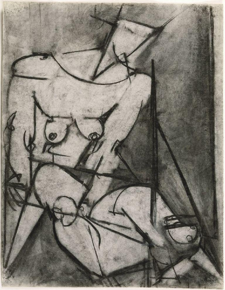 """DeNiro Art 2"": Cubist Figure, n.d., Charcoal on paper, 24 x 18 3/4 inches. Courtesy of DC Moore Gallery, New York"