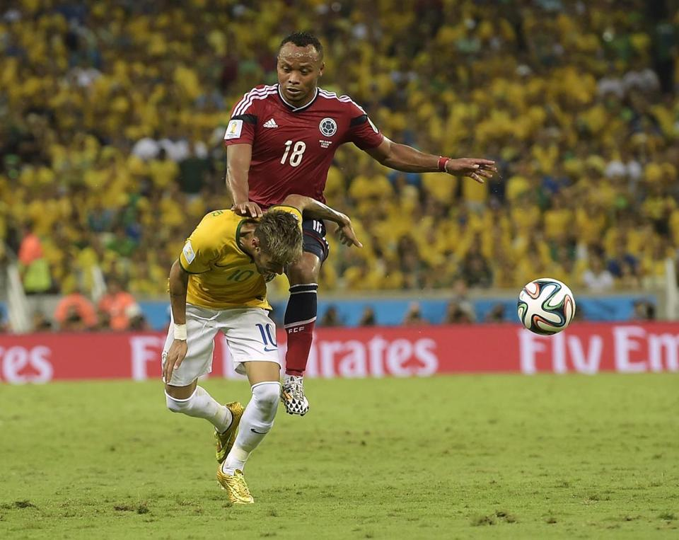 Juan Camilo Zuniga kneed Neymar during the World Cup quarterfinal match between Colombia and Brazil. Neymar suffered a broken vertebra and will not be able to play in the rest of the competition.