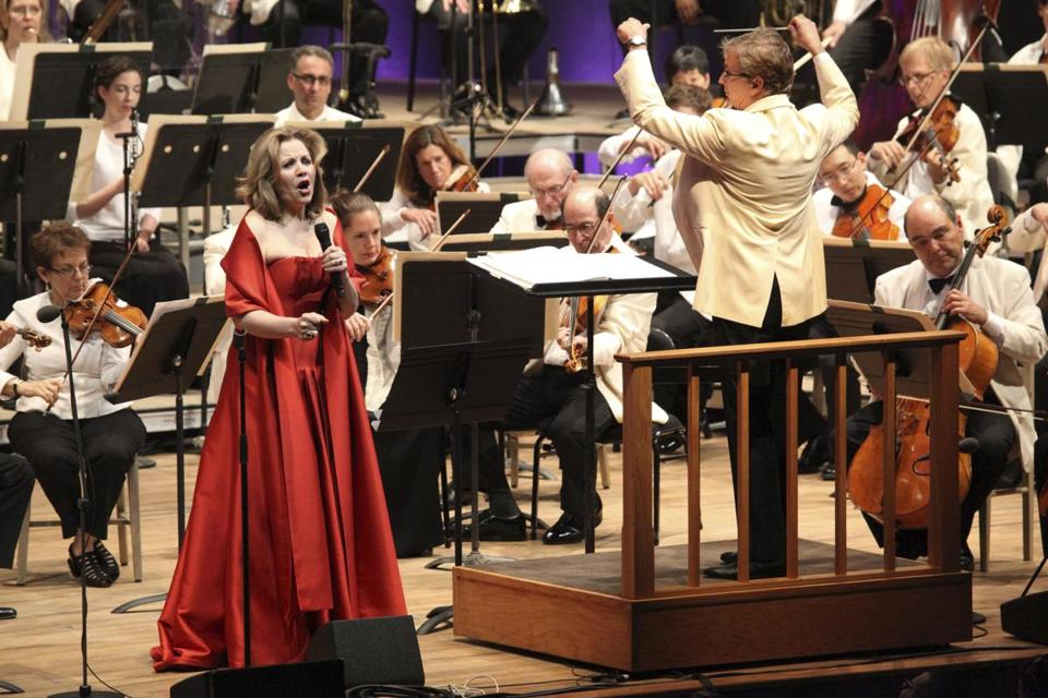 Conductor Rob Fisher and soprano Renée Fleming on opening night of the BSO season at Tanglewood on Saturday.