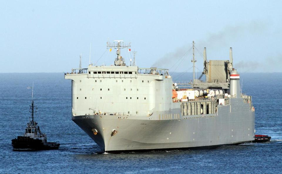 Syria's chemical weapons has been handed over to Western governments for destruction, and are currently on the Danish cargo ship Ark Futura. They are expected be transferred to the US-owned MV Cape Ray, pictured here.