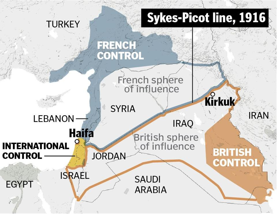 France and Britain determined a border in 1916, between Kirkuk and Haifa. France assumed power north of the line, in what became Lebanon, Syria, and part of Iraq. Britain took the area south of the line.