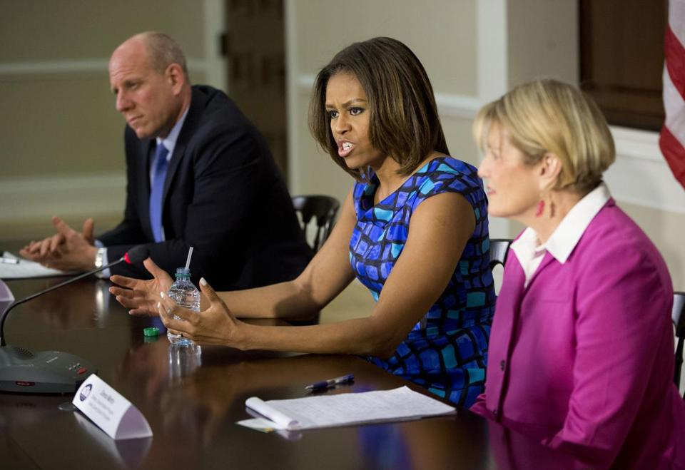 First lady Michelle Obama participated in a discussion in May about school nutrition.