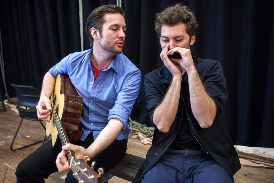 Peter Oyloe (left) plays Paul Clayton (top, in undated photo), Jared Weiss is Bob Dylan in the Vineyard Playhouse production.