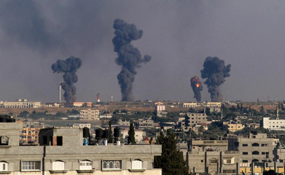 A ball of fire followed an Israeli airstrike Monday on Gaza International Airport in Rafah, southern Gaza.