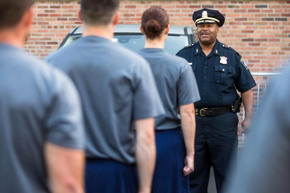 William Gross, the Boston Police Department's superintendent in chief, spoke to recruits before they ran from Hyde Park to Roxbury in June.