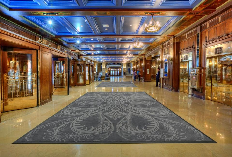 During the careful  restoration of the historic Château Frontenac in Québec City, it was discovered that the coffered ceilings in the lobby, or Grand Hall, were orginally cobalt blue.