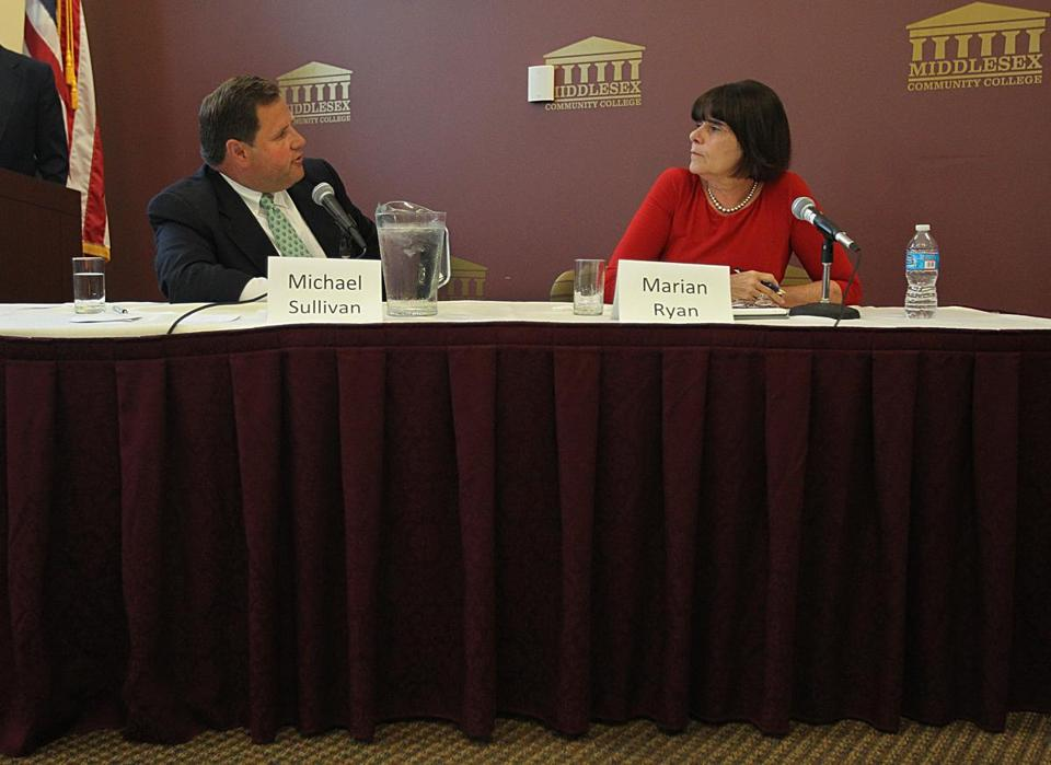 Middlesex DA Marian Ryan and challenger Michael Sullivan spoke at a previous event.