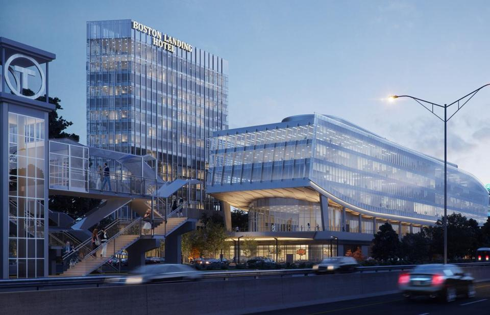 A rendering of the proposed Boston Landing project at the New Balance headquarters in Brighton.