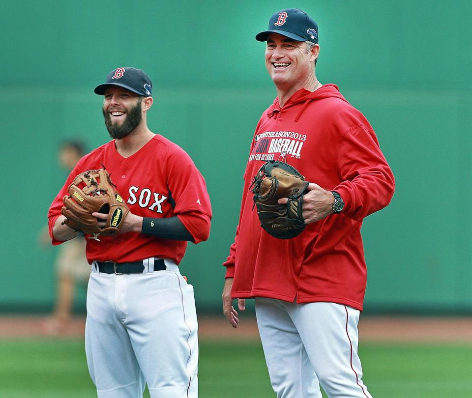 Red Sox manager John Farrell, right, with Dustin Pedroia.