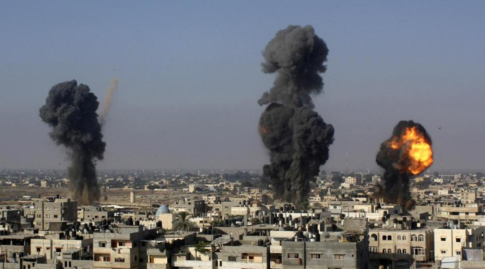Israeli missiles hit smuggling tunnels in Rafah on Wednesday. (AP Photo/Hatem Ali)